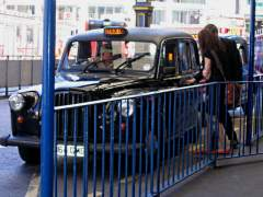 London taxi at Victoria train station