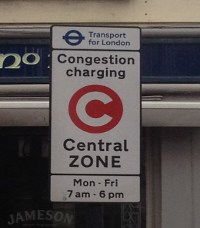Road sign when entering the Congestion Charge Zone