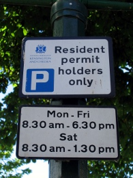 Controlled Parking Zone Sign London