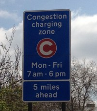 Road sign when you approach the congestion charge zone