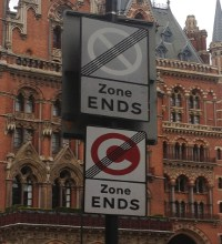 Sign when leaving the Congestion Charge Zone